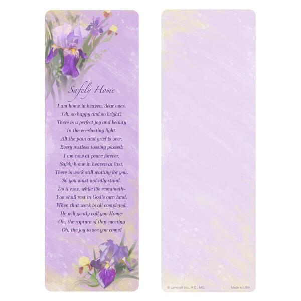 "3"" x 9"" Lavender Iris bookmark, Safely Home"