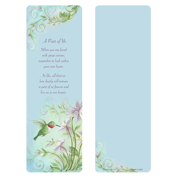 """3"""" x 9"""" Hummingbird bookmark, A Part of Us"""