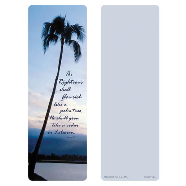 "3"" x 9"" Palm Tree bookmark, Psalm 92:12"