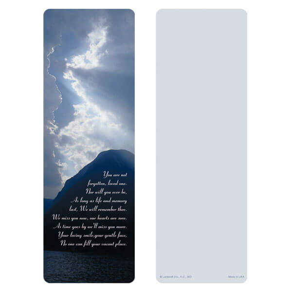 "3"" x 9"" Clouds & Sea bookmark, You Are Not Forgotten"
