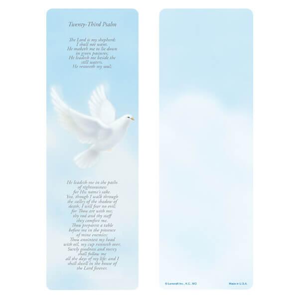 "3"" x 9"" Dove bookmark, 23rd Psalm"