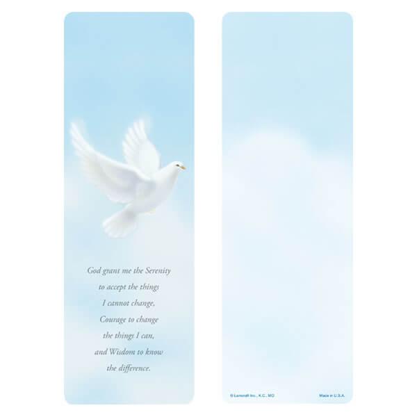 "3"" x 9"" Dove bookmark, Serenity Prayer"