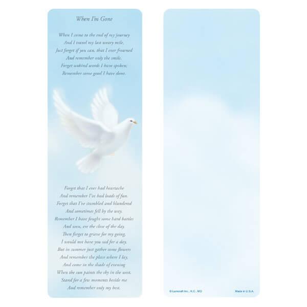 """3"""" x 9"""" Dove bookmark, When I'm Gone"""