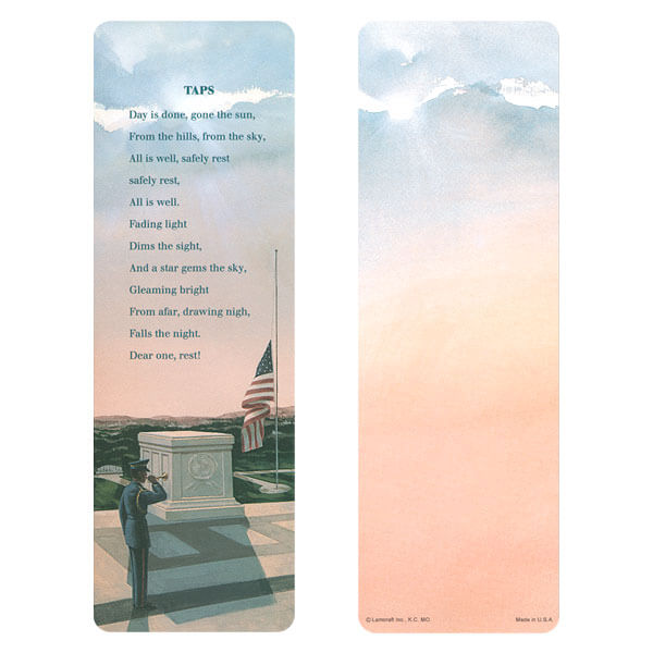 "3"" x 9"" Veteran's bookmark, Taps verse"