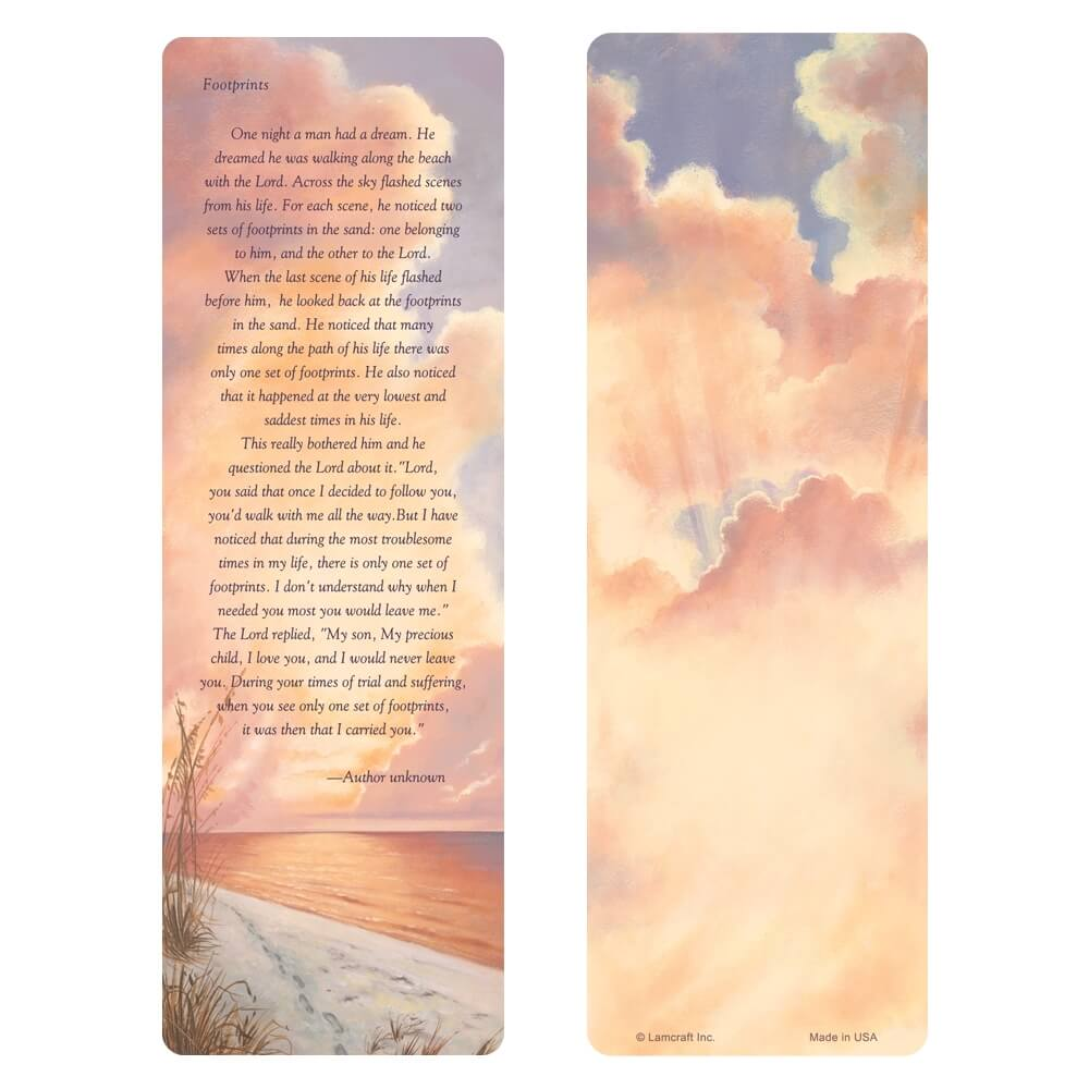"3"" x 9"" Footprints bookmark, Footprints verse"