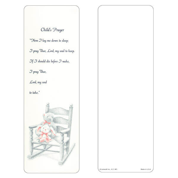 "3"" x 9"" Child's Prayer bookmark, Child's Prayer"