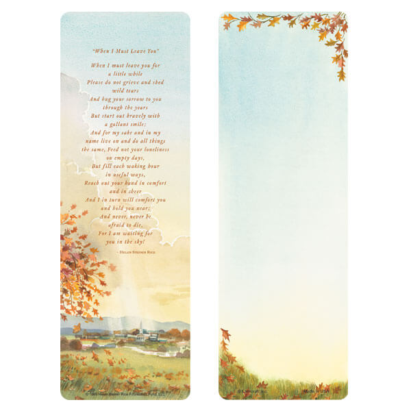 "3"" x 9"" Meadow bookmark, When I Must Leave You"