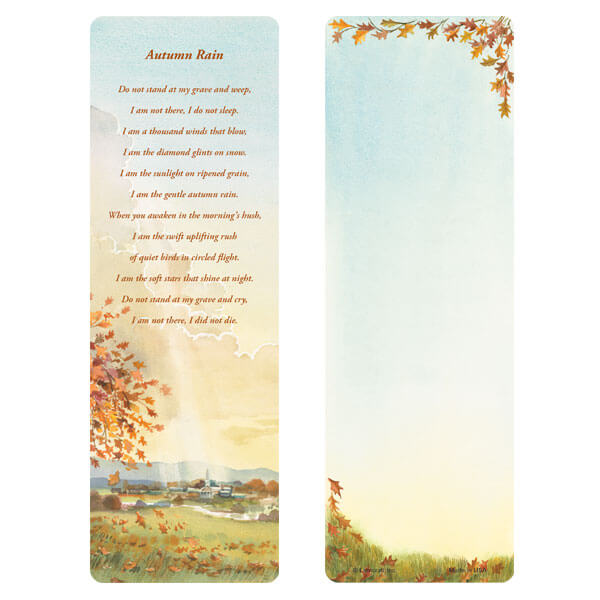"3"" x 9"" Meadow bookmark, Autumn Rain"