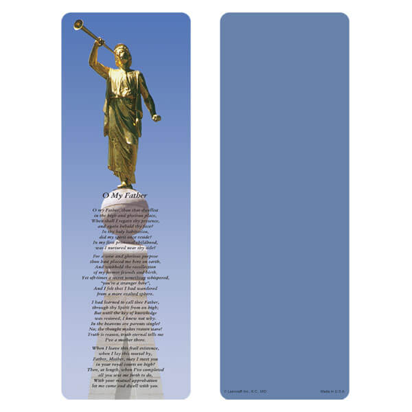 "3"" x 9"" Angel Moroni bookmark, O My Father"