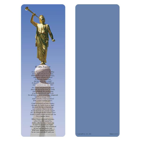"""3"""" x 9"""" Angel Moroni bookmark, O My Father"""