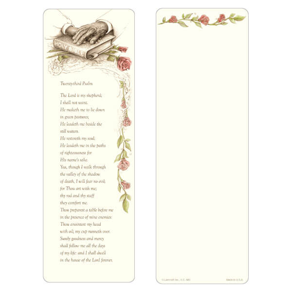"3"" x 9"" Bible bookmark, 23rd Psalm"