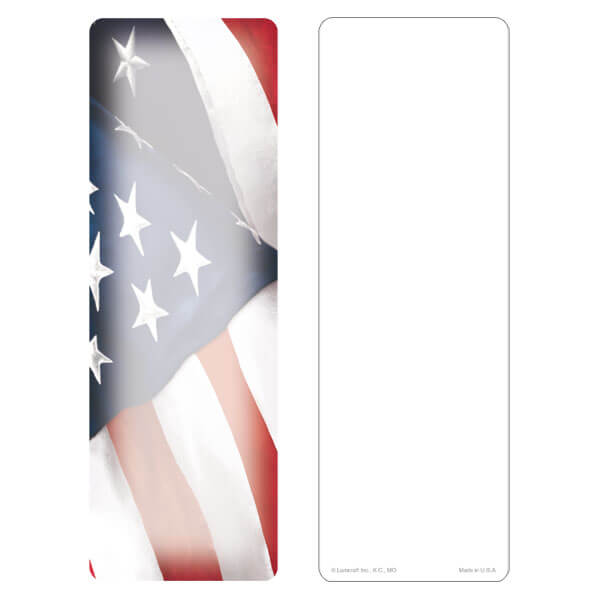 "3"" x 9"" Imprintable U.S. Flag bookmark, No Verse"