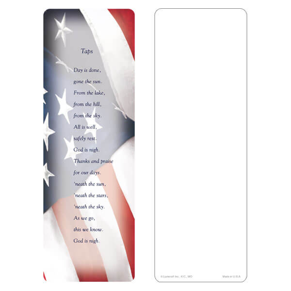 "3"" x 9"" Imprintable U.S. Flag bookmark, Taps"