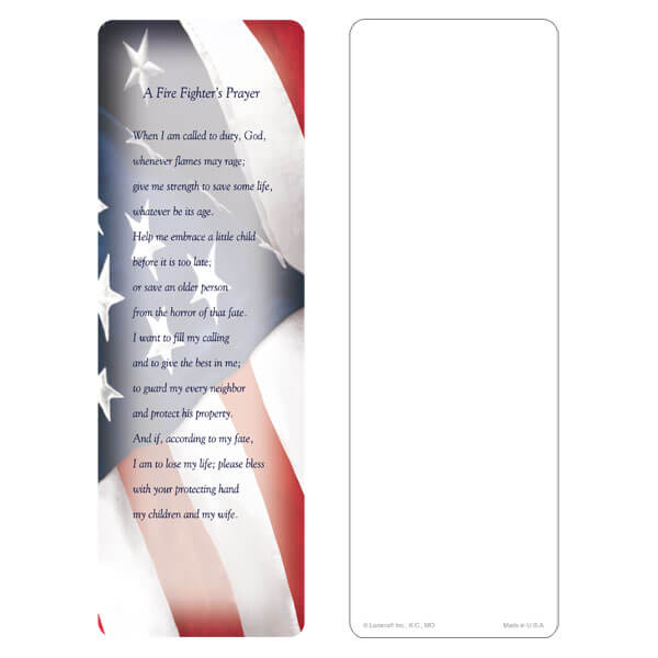 "3"" x 9"" Imprintable U.S. Flag bookmark, Fire Fighter's Prayer"
