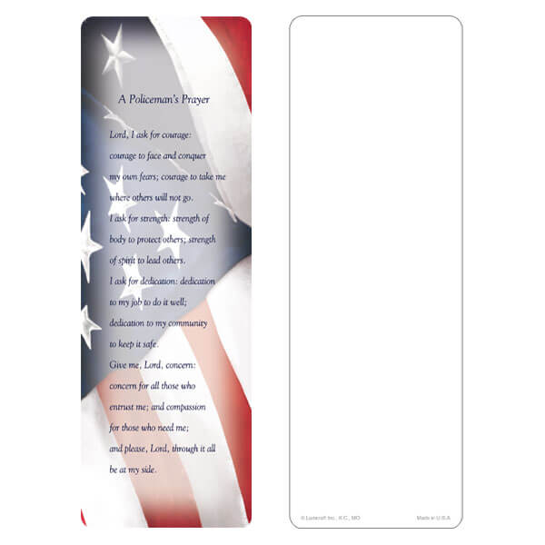"3"" x 9"" Imprintable U.S. Flag bookmark, Policeman's Prayer"