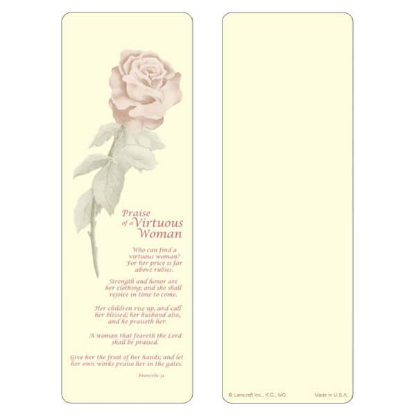 "3"" x 9"" Single Rose bookmark, Virtuous Woman"
