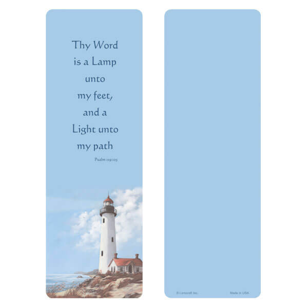 "3"" x 9"" Lighthouse bookmark, Psalm 119:105"