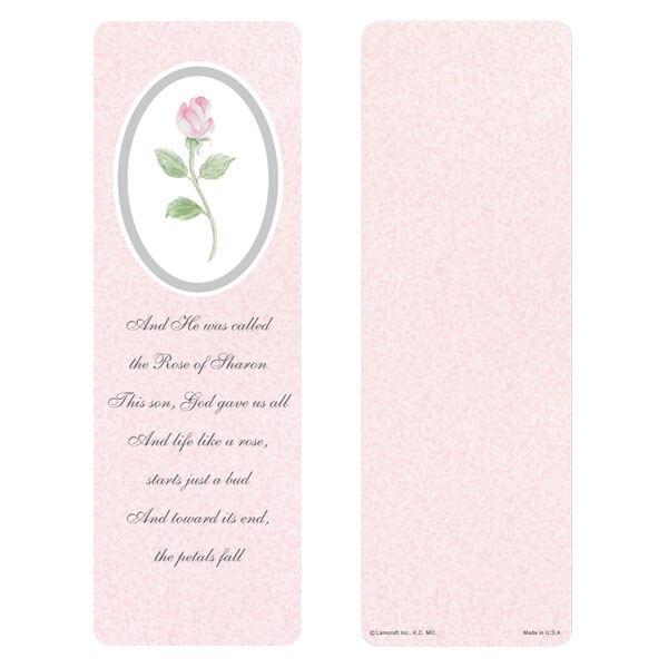 "3"" x 9"" Rosebud bookmark, Rose of Sharon"