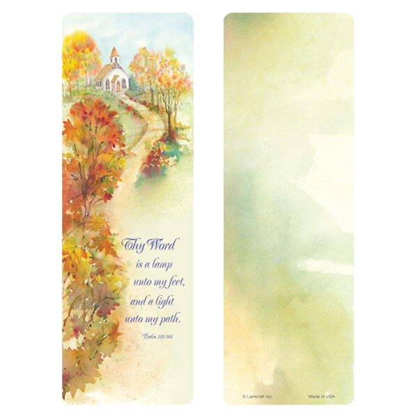 "3"" x 9"" Autumn Path bookmark, Psalm 119:105"