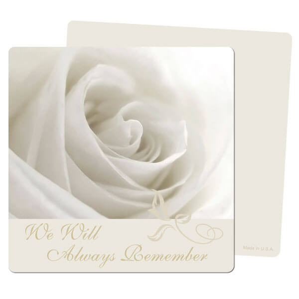 "5"" x 5"" White Rose PMC Mini-Album, We Will Always Remember"