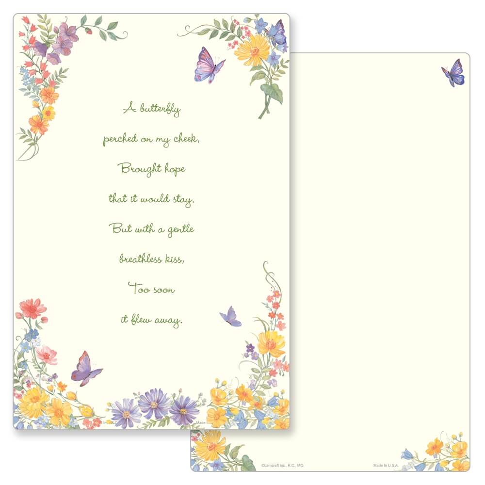 """6"""" x 9"""" Butterfly PMC Album, Butterfly Poem"""