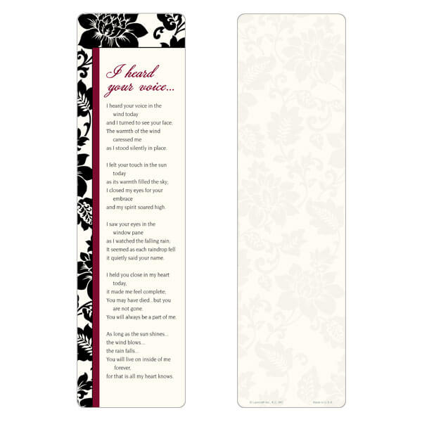 "3"" x 11"" Silhouette Expressions large bookmark, I Heard Your Voice"
