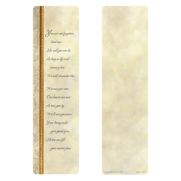 "3"" x 11"" Antique Border large bookmark, You Are Not Forgotten"