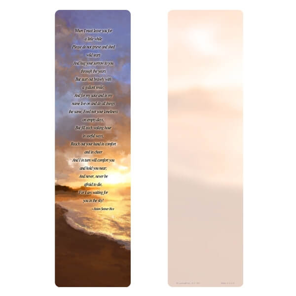 """3"""" x 11"""" Sunset Beach PMC Large Bookmark, When I Must Leave You verse"""