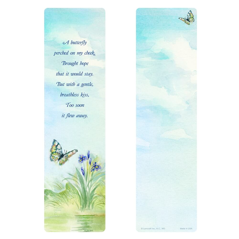 """3"""" x 11"""" Watercolor Butterfly PMC Large Bookmark, Butterfly Poem"""