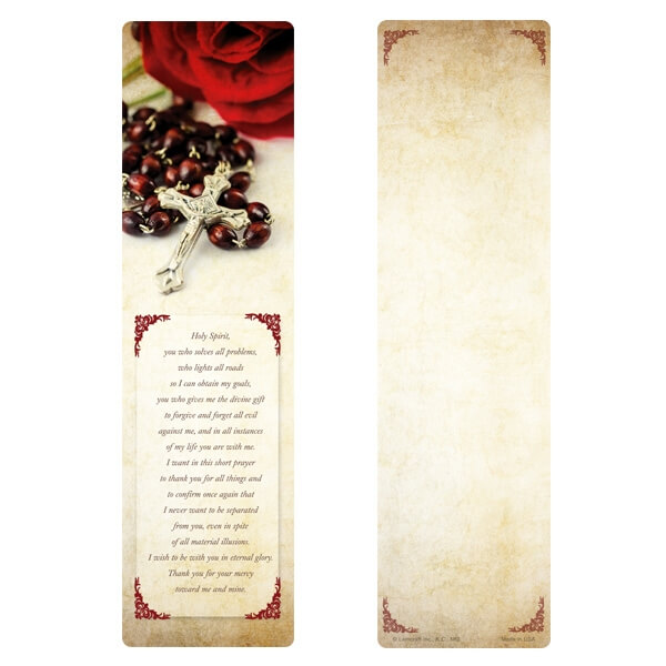 """3"""" x 11"""" Rosary and Rose Premium Memorial Large Bookmark with """"O Holy Spirit"""""""