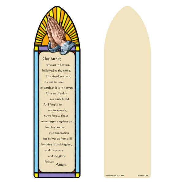 "3"" x 11"" Stained Glass large bookmark, The Lord's Prayer"