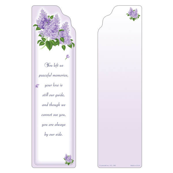 "3"" x 11"" Spring Lilacs large bookmark, Peaceful Memories"