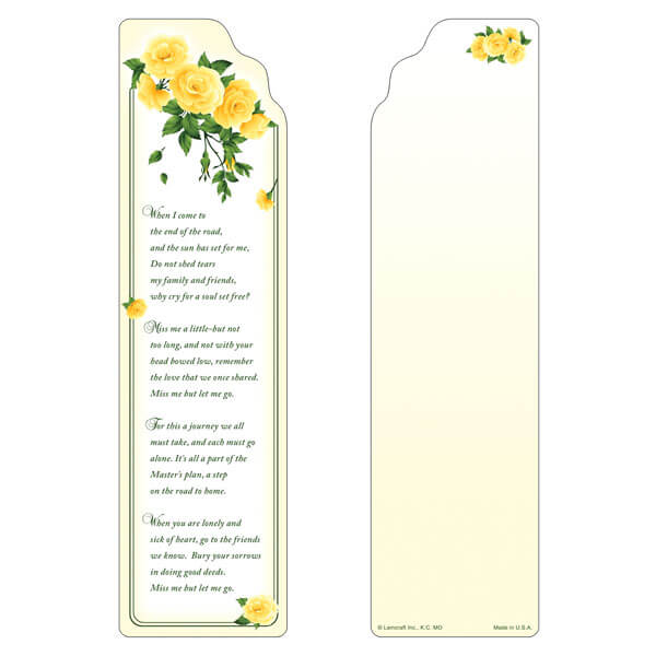 "3"" x 11"" Yellow Roses large bookmark, Miss Me, But Let Me Go"