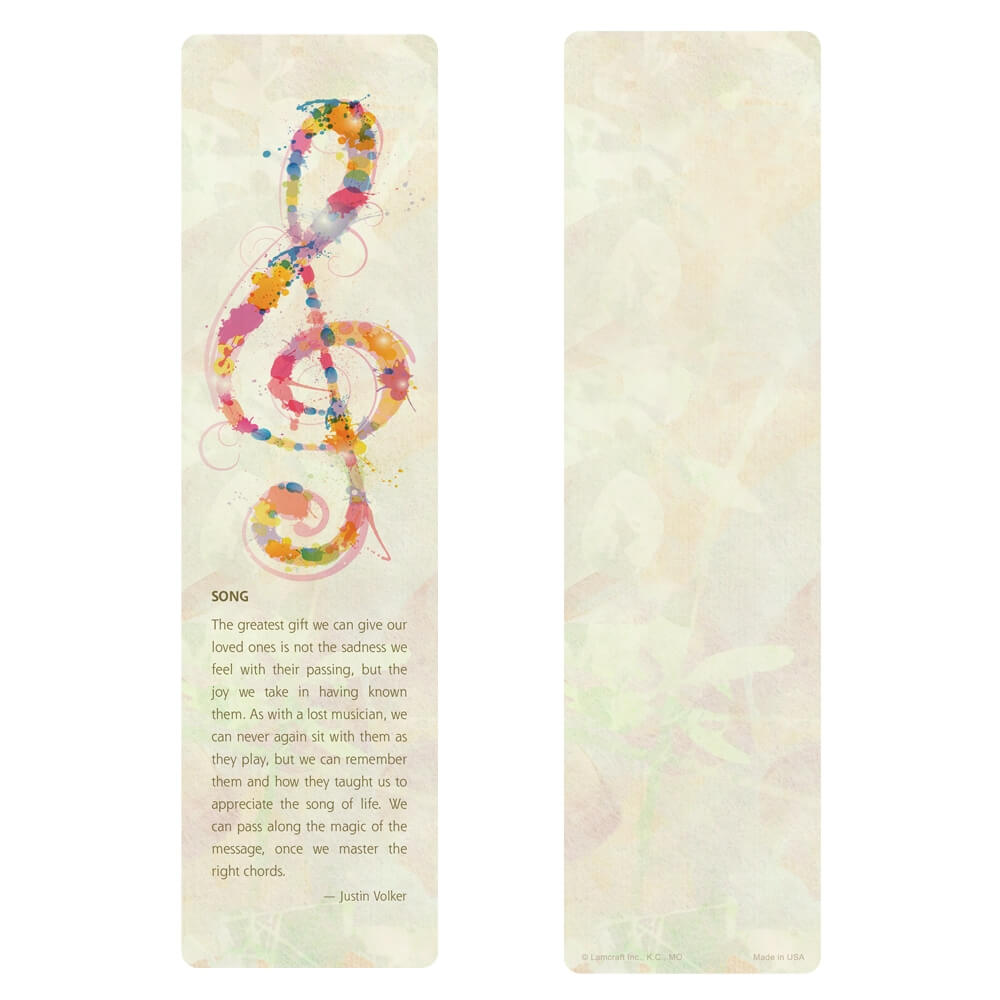 """3"""" x 11"""" Music large bookmark, Song"""