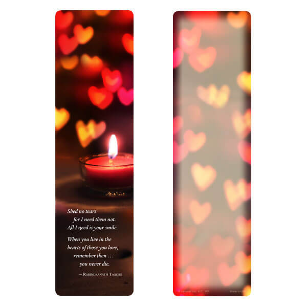"3"" x 11"" Heart Candle large bookmark, Shed No Tears"