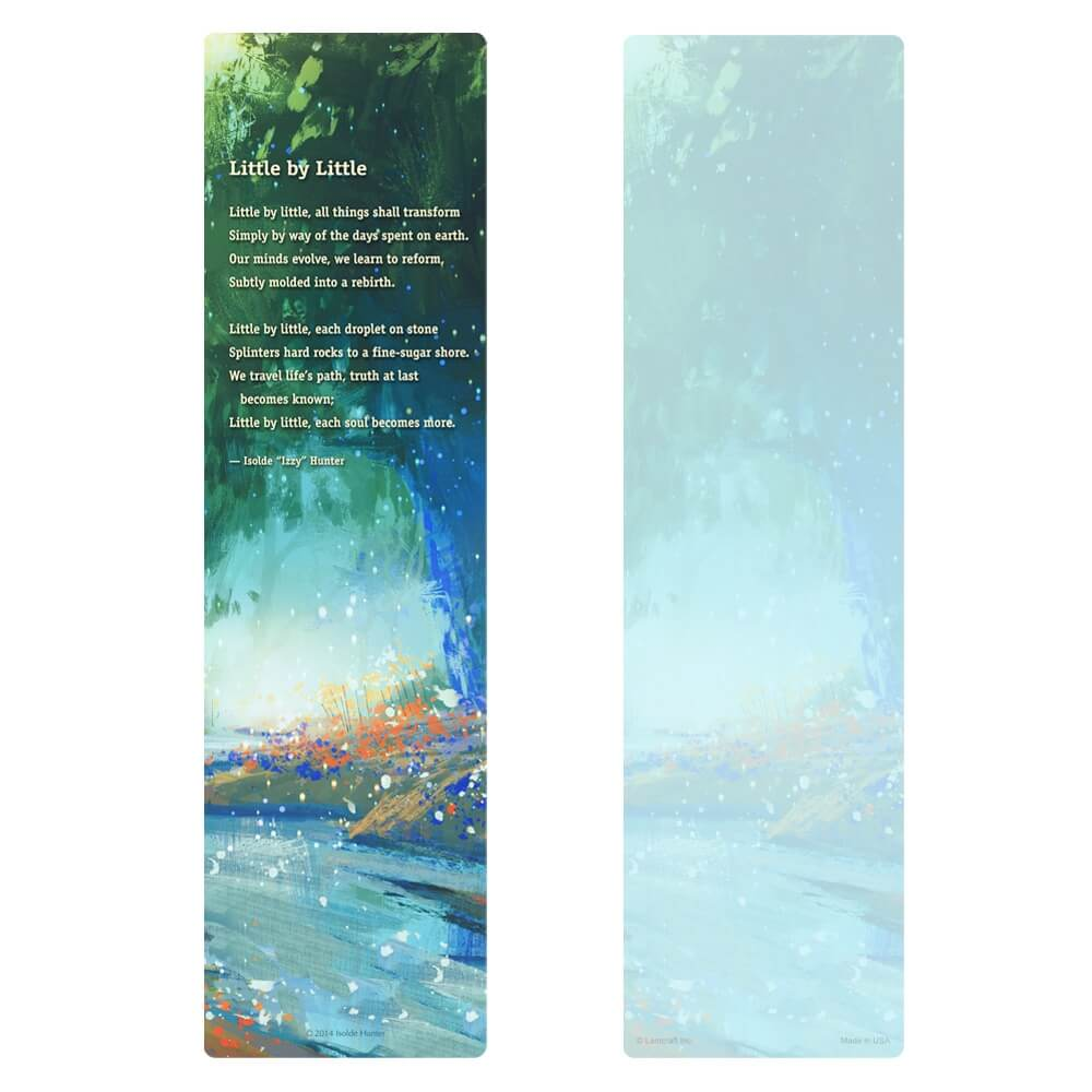 "3"" x 11"" Bright Stream large bookmark, Little by Little"