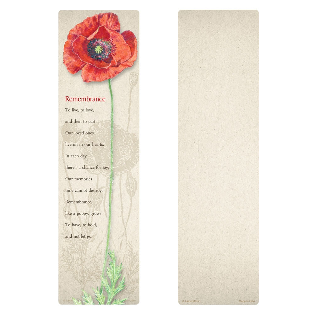 "3"" x 11"" Red Poppy large bookmark, Remembrance"