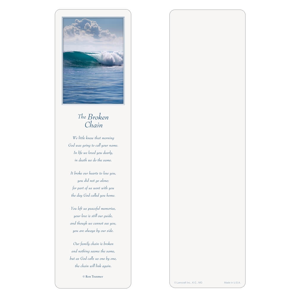 "3"" x 11"" Tranquil Ocean large bookmark, Broken Chain"