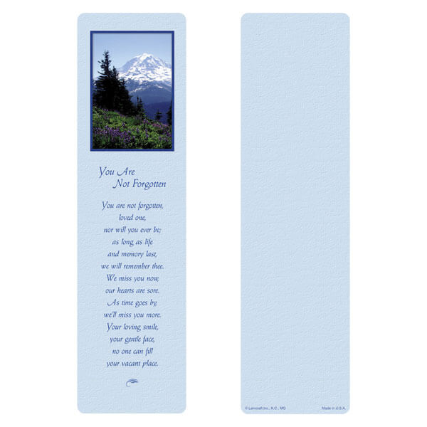"3"" x 11"" Nature's Majesty large bookmark, You Are Not Forgotten"