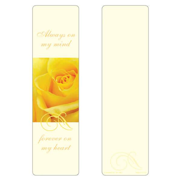 "3"" x 11"" Yellow Rose large bookmark, Always On My Mind"