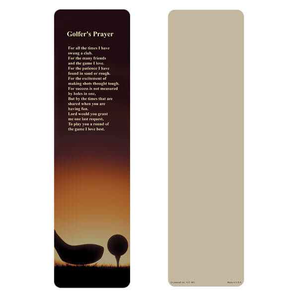 "3"" x 11"" Golf large bookmark, Golfer's Prayer"