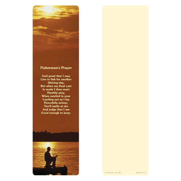 "3"" x 11"" Fisherman large bookmark, Fisherman's Prayer"