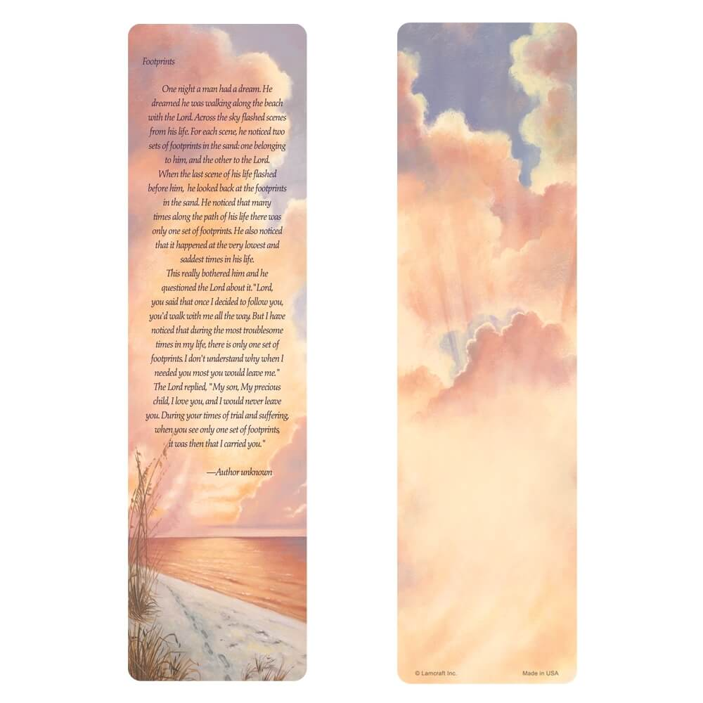 "3"" x 11"" Footprints large bookmark, Footprints verse"