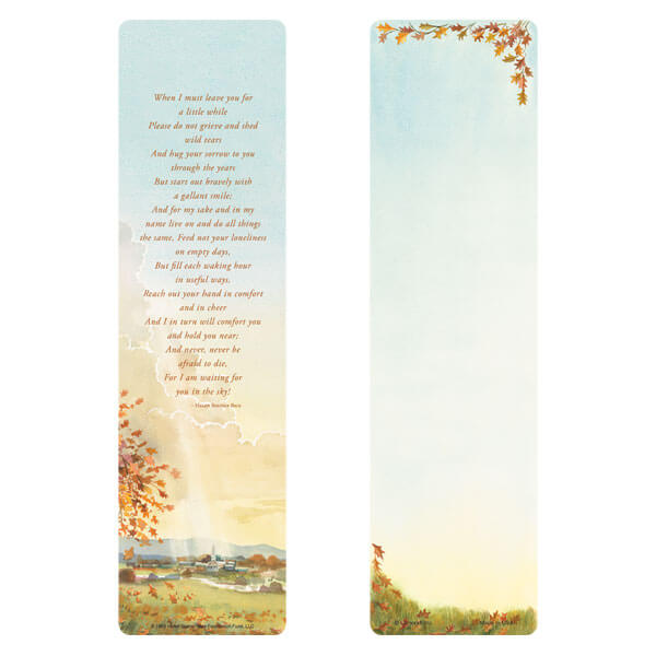 "3"" x 11"" Meadow large bookmark, When I Must Leave You"