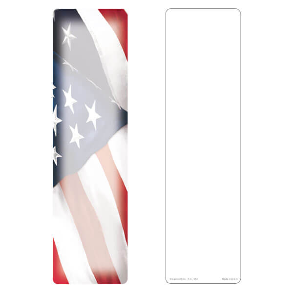 "3"" x 11"" Imprintable U.S. Flag large bookmark, No Verse"