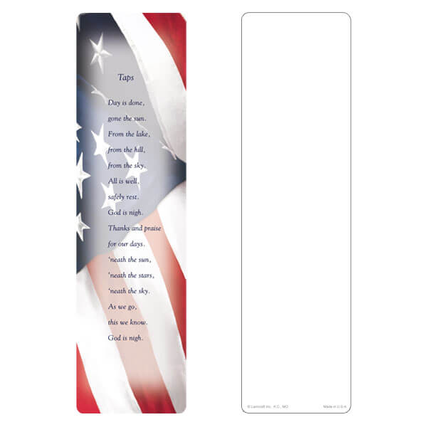 "3"" x 11"" Imprintable U.S. Flag large bookmark, Taps"