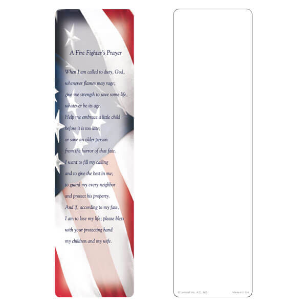 "3"" x 11"" Imprintable U.S. Flag large bookmark, Fire Fighter's Prayer"
