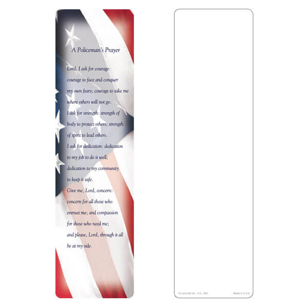 "3"" x 11"" Imprintable U.S. Flag large bookmark, Policeman's Prayer"