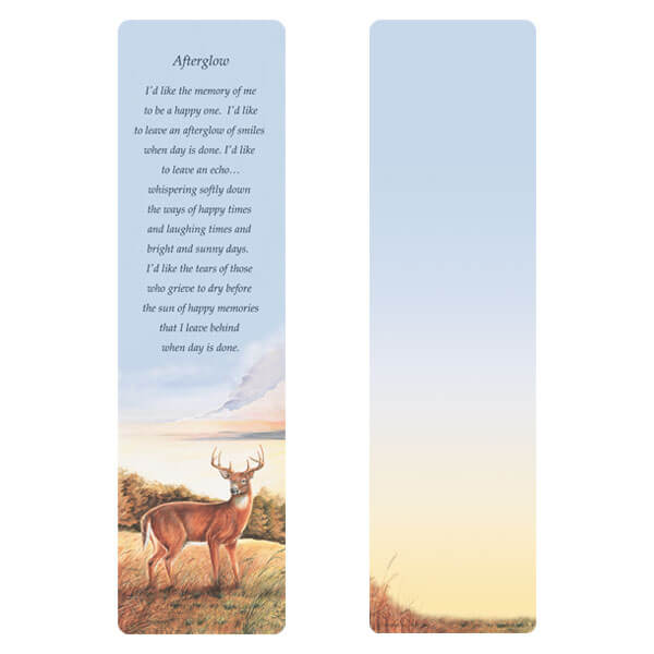 "3"" x 11"" Deer large bookmark, Afterglow"