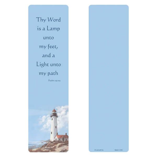 "3"" x 11"" Lighthouse large bookmark, Psalm 119:105"